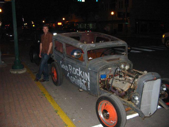 an rockabilly hooligan, leaning on bloody junk!