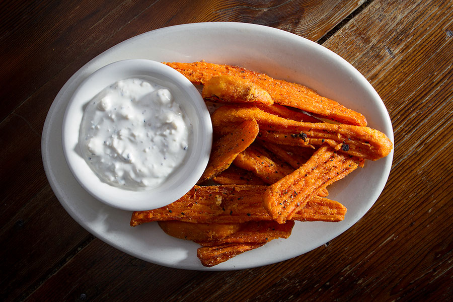 Phoenix Saloon's Sweet Potato Fries with Blue Cheese Dipping Sauce are a customer favorite!